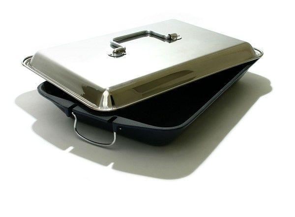 Grandhall Gietijzeren pan met RVS deksel zwart zilver
